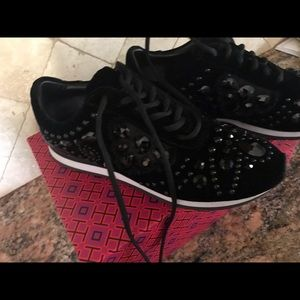 Tory Burch Shoes - Tory Burch crystal sneakers 9 black velvet